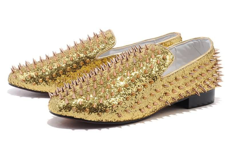 20-Christian Louboutin Spiked Shoes Rollerball Glitter Loafers Gold Sneakers-1