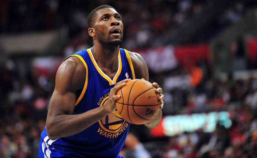 November 3, 2012; Los Angeles, CA, USA; Golden State Warriors center Festus Ezeli (31) shoots a free throw against the Los Angeles Clippers during the first half at Staples Center. Mandatory Credit: Gary A. Vasquez-USA TODAY Sports