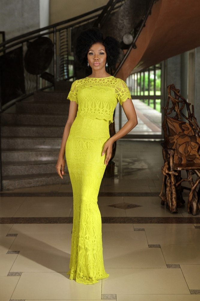 Lemon Lace Zizi Maxi Dress by Grey