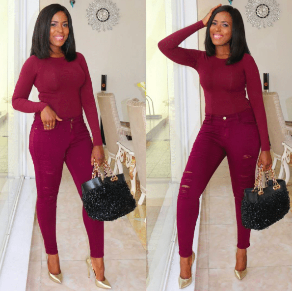 Linda Ikeji Birthday in Burgundy