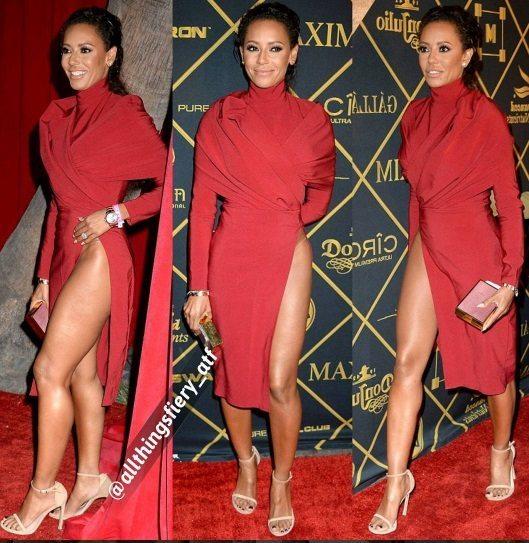 Mel B high slit red dress