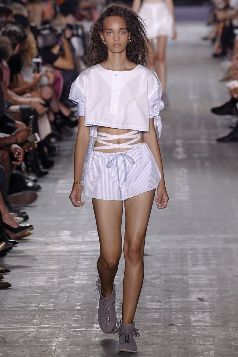 white crop top by alexander wang