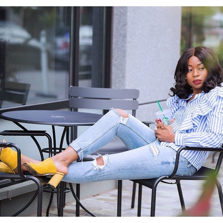 Stella Uzo of Jadore Fashion in a Ruffle Shirt Serving Casual Chic
