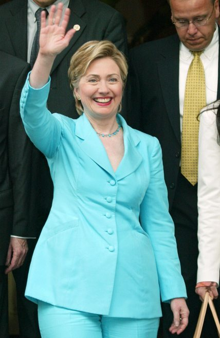 "Former US first lady Hillary Clinton waves as she leaves her hotel in Paris 02 July 2003. Hillary Clinton is in Paris to promote her memoir ""Living History"". AFP PHOTO PIERRE VERDY (Photo credit should read PIERRE VERDY/AFP/Getty Images)"