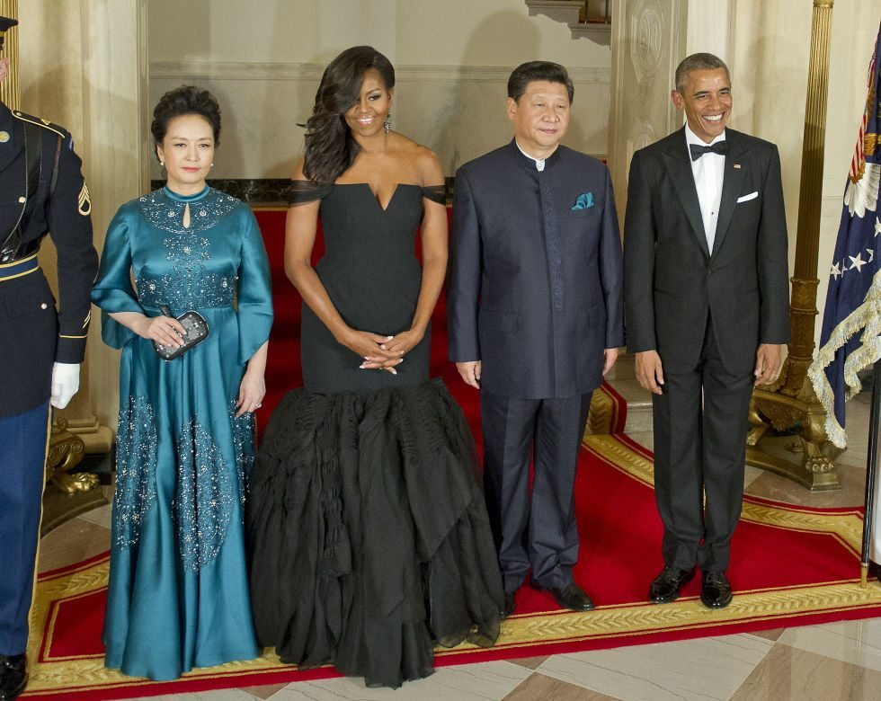 Michelle Obama in Vera Wang for Formal State Dinner with Chinese President Xi Jinping and  his Wife Peng Liyuan