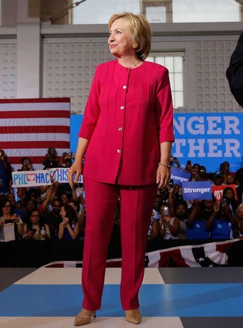 Democratic presidential nominee Hillary Clinton arrives at a voter registration rally, August 16, 2016, in Philadelphia, Pennsylvania. / AFP / DOMINICK REUTER (Photo credit should read DOMINICK REUTER/AFP/Getty Images)
