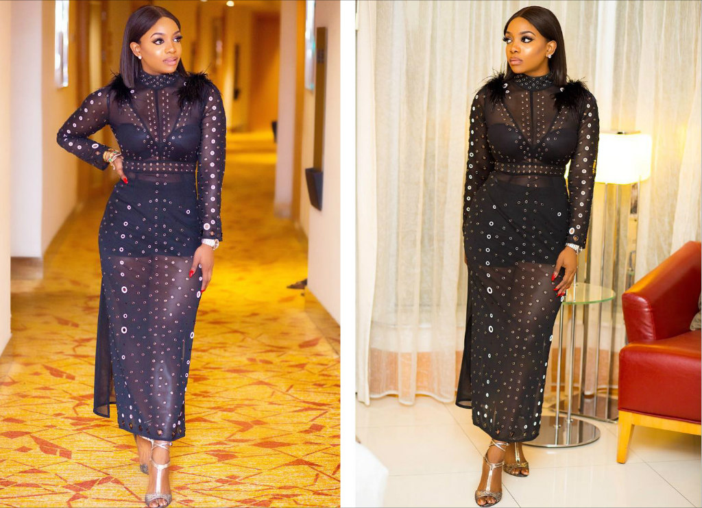 picture of chioma ikokwu looking dashing in a black jumpsuit dress