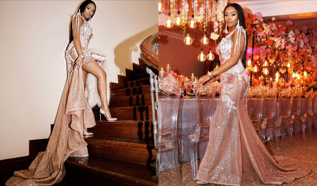Bonang Matheba birthday party dress glamour