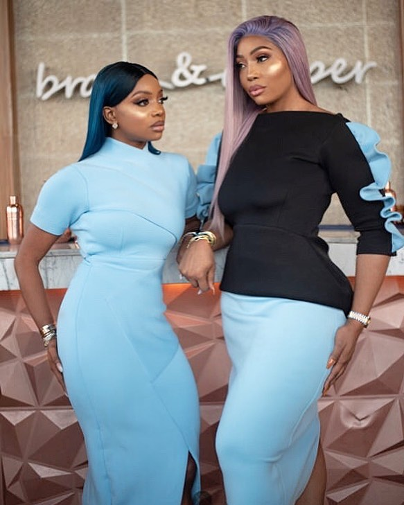kika good hair slaying almond blue dress with chioma good hair