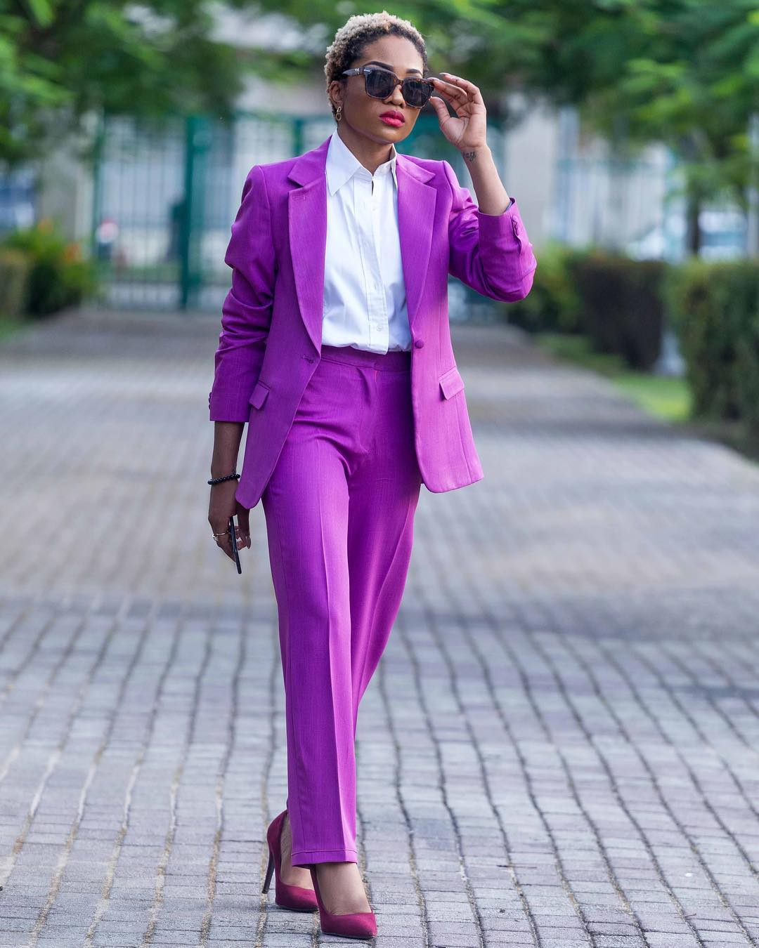 Image result for nigerian woman wearing coloured power suit
