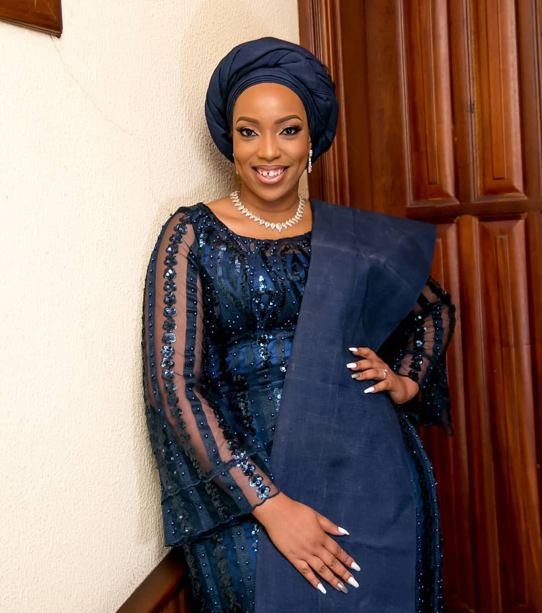 Eki Ogunbor Nigerian wedding Introduction ceremony Yoruba bride navy blue