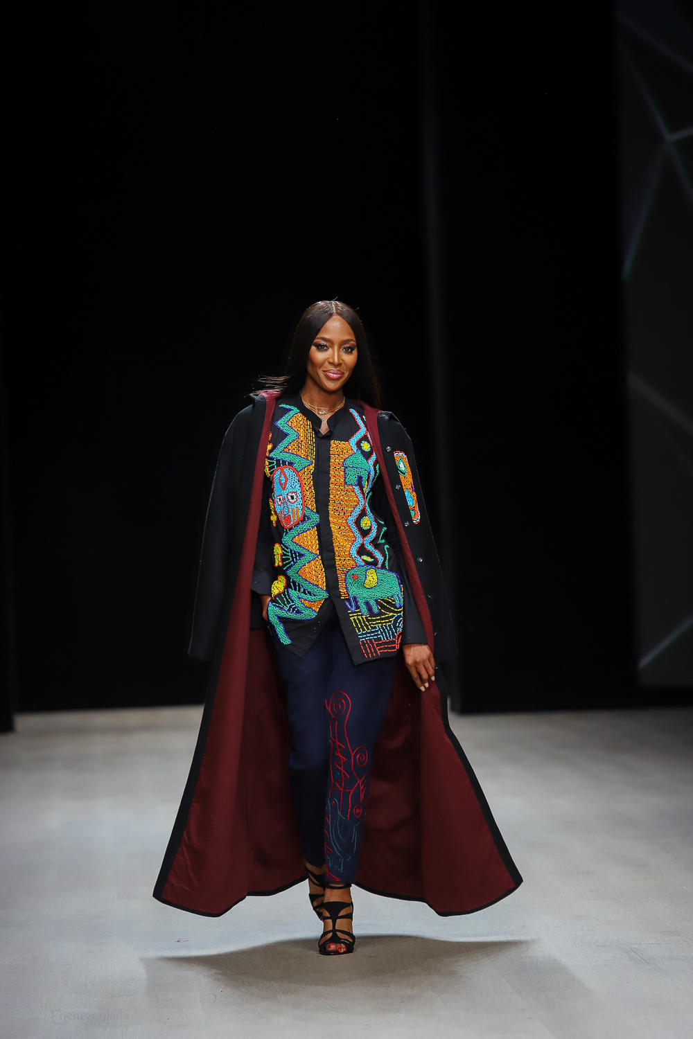 Naomi Campbell at the Arise Fashion Week in Okunoren