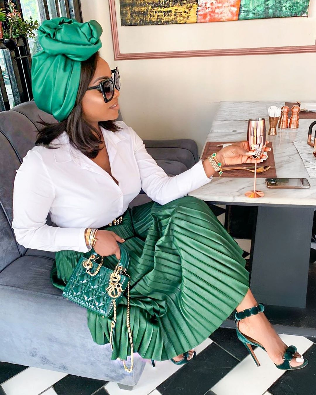 chioma-ikokwu-green-scarf-green-pleated-skirt