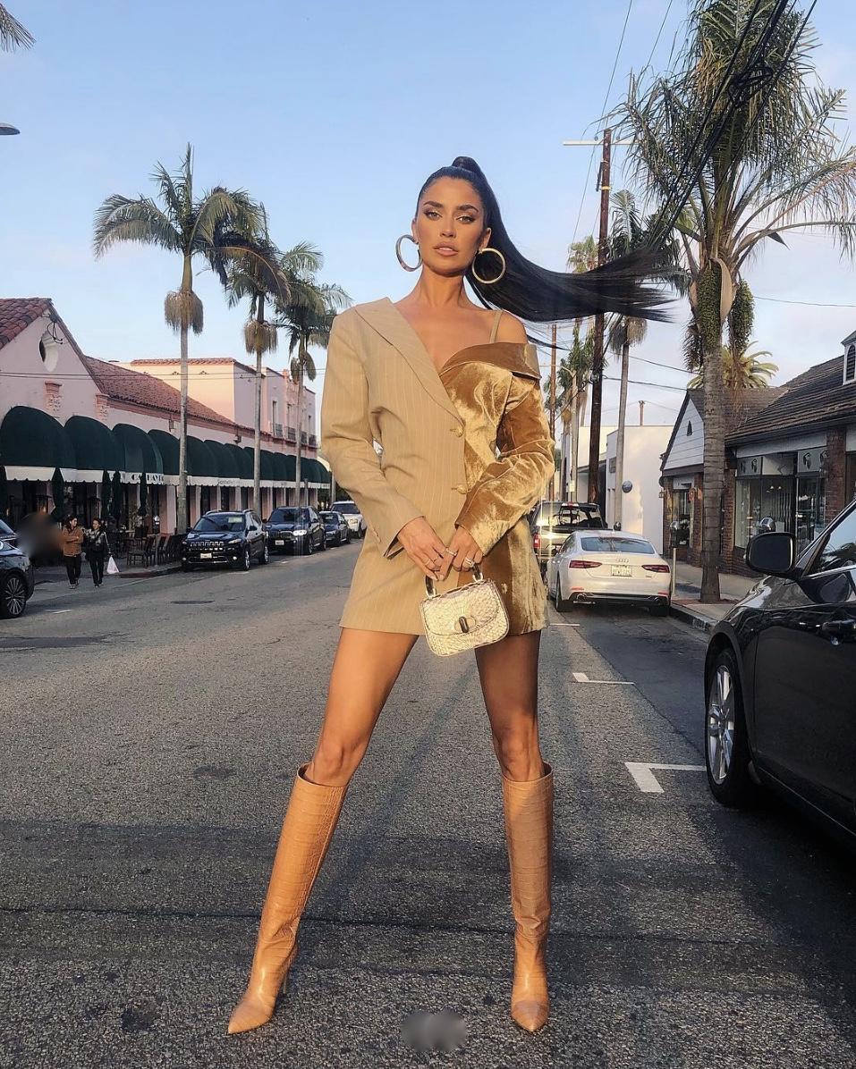 camel-blazerdress-boots-hoopearrings-stylerave