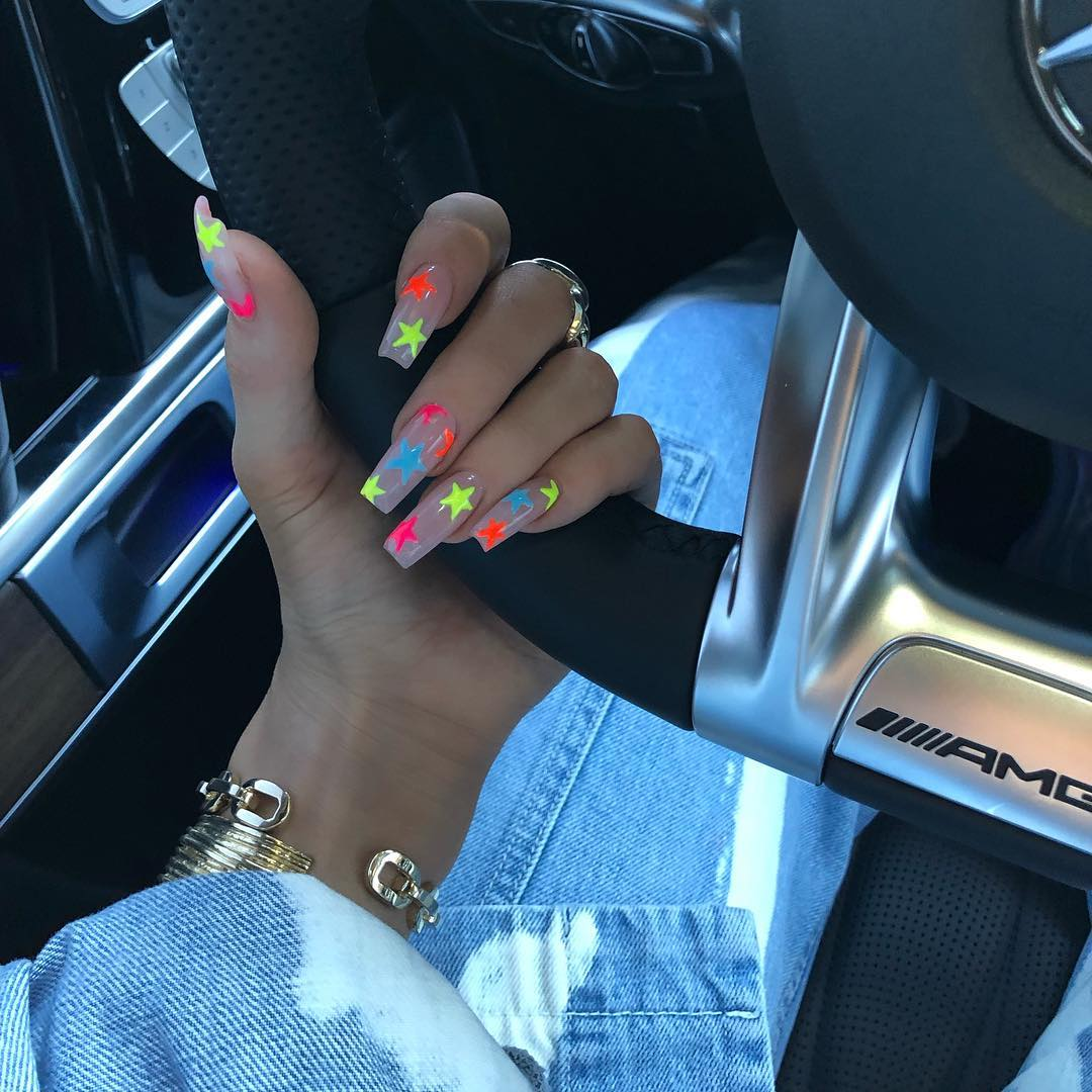Latest-Neon-star-inspired-nails-of-Kylie Style Rave
