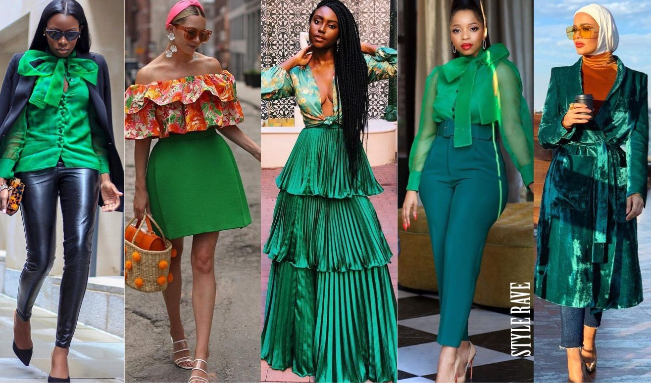 how-tostyle-a-green-outfit-wear-skirt-dress-blouse-shirt-top-accessories