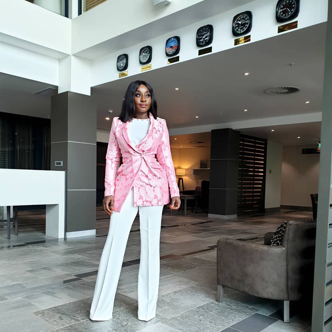 ini-edo-white-jumpsuit-pink-damask-blazer-nigerian-celebs-weekend-looks
