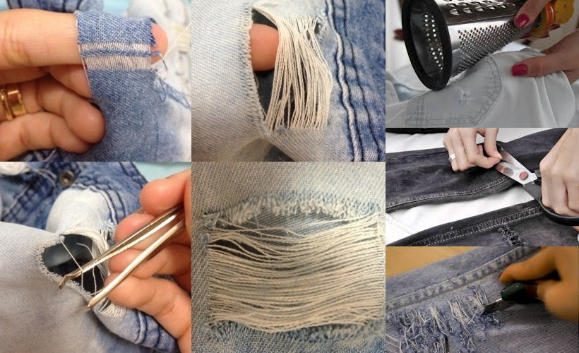 Trial steps when making ripped denim jeans