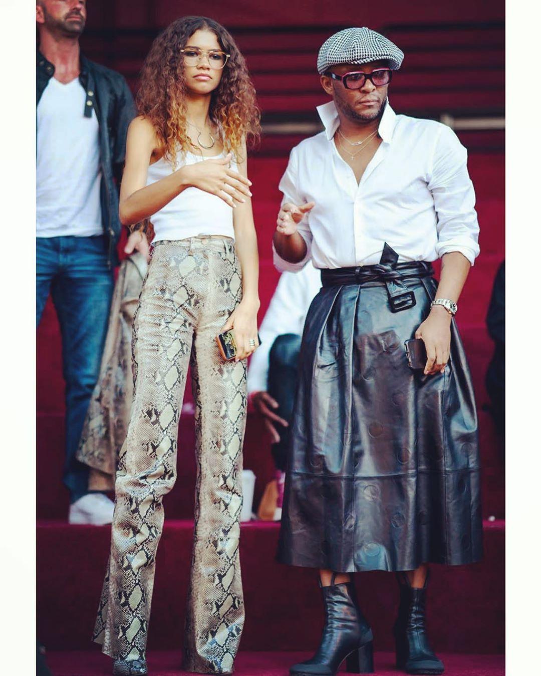zendaya-law-roach-leather-skirt-snake-print-pant-hollywood-fashion-2019