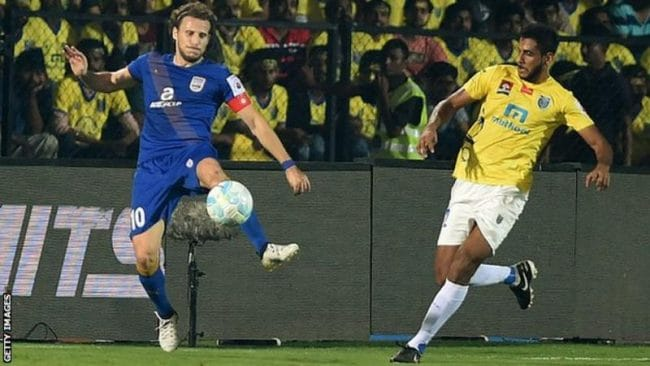 Former Uruguay striker Diego Forlan (left) is one of the most high-profile players to appear for Mumbai City