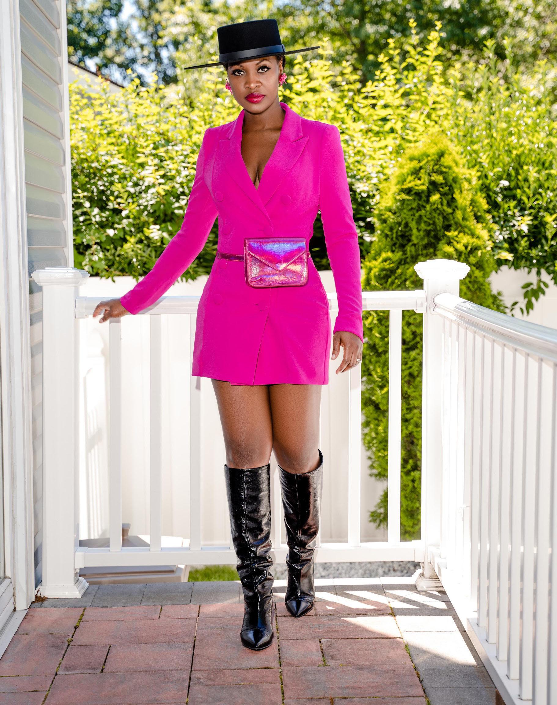Pink Ciara Blazer Dress For Fall Winter Spring Summer
