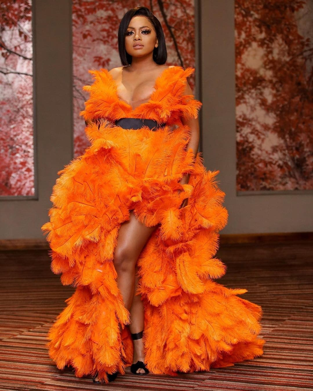 Lerato-kganyago-orange-feather-dress-the-most-rave-worthy-looks-on-women-across-africa-african-celebs-style