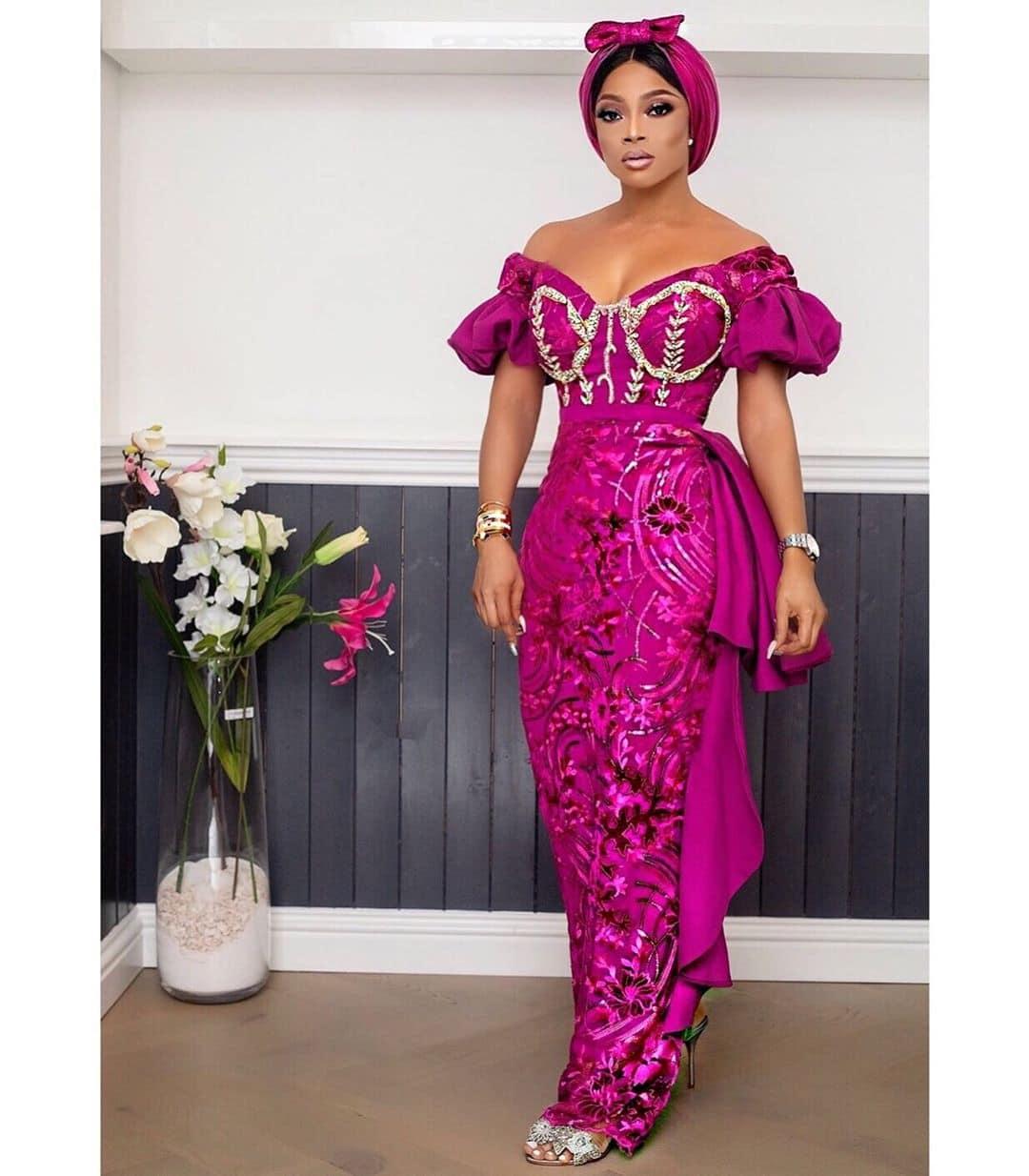 Toke-makinwa-asoebi-ready-pink-lace-dress