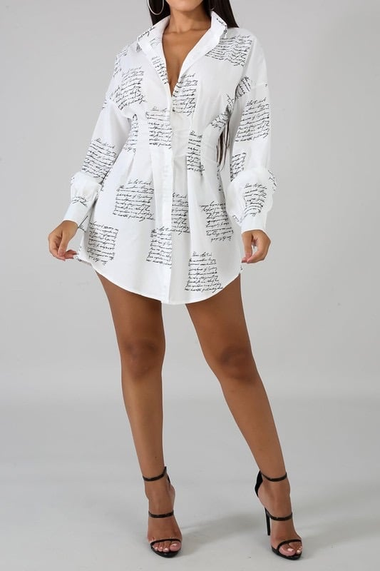 Letter Print White Shirt Dress For Fall Winter Spring Summer