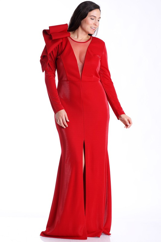 Red Lilian Evening Dress - PLUS SIZE For Fall Winter Spring Summer