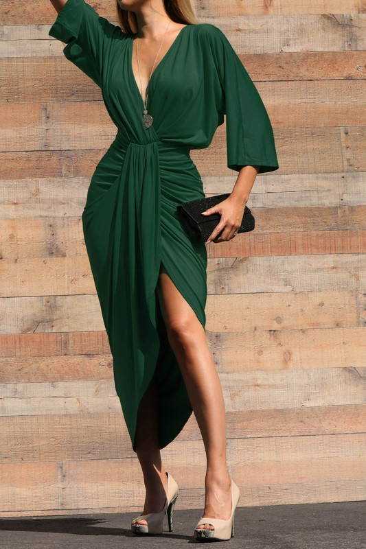 Green Monica 3/4 Sleeve Ruched Bodycon Wrap Dress For Fall Winter Spring Summer