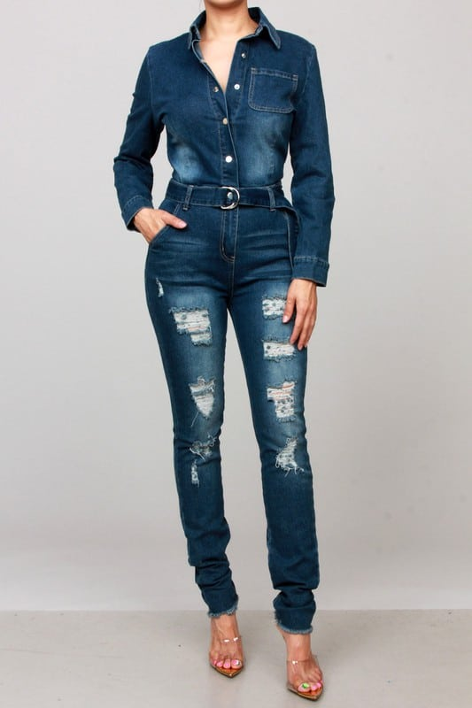 Blue-long-sleeve-denim-ripped-jumpsuit For Fall Winter Spring Summer