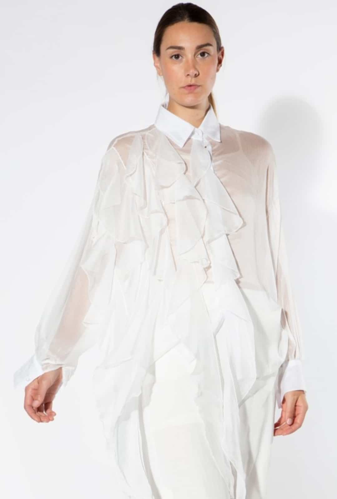 White Amahle Crinkle Blouse For Fall Winter Spring Summer