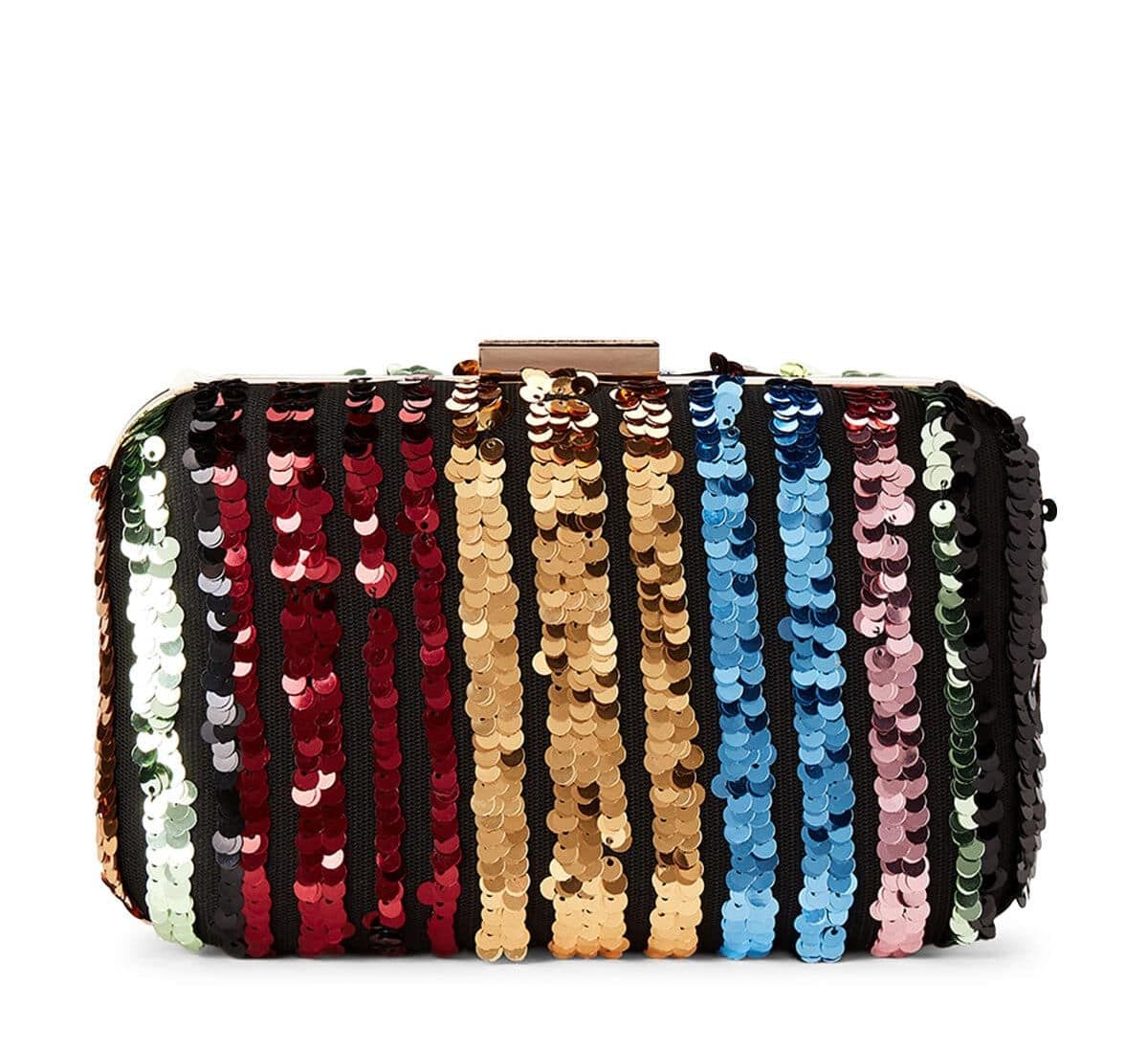 Camila Rainbow Stripped Sequin Clutch For Fall Winter Spring Summer