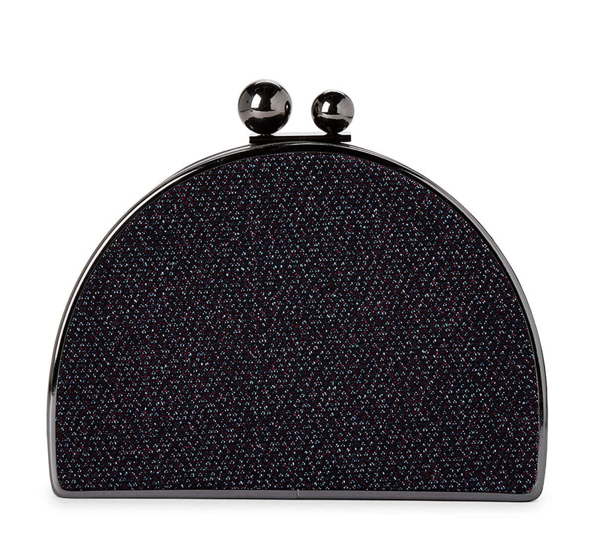Tracee Glittered Blue Half-Moon Clutch For Fall Winter Spring Summer