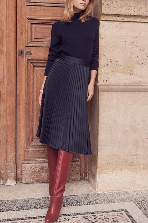 cómo-estilo-faldas plisadas-como-un-cuervo-estilo-certificado