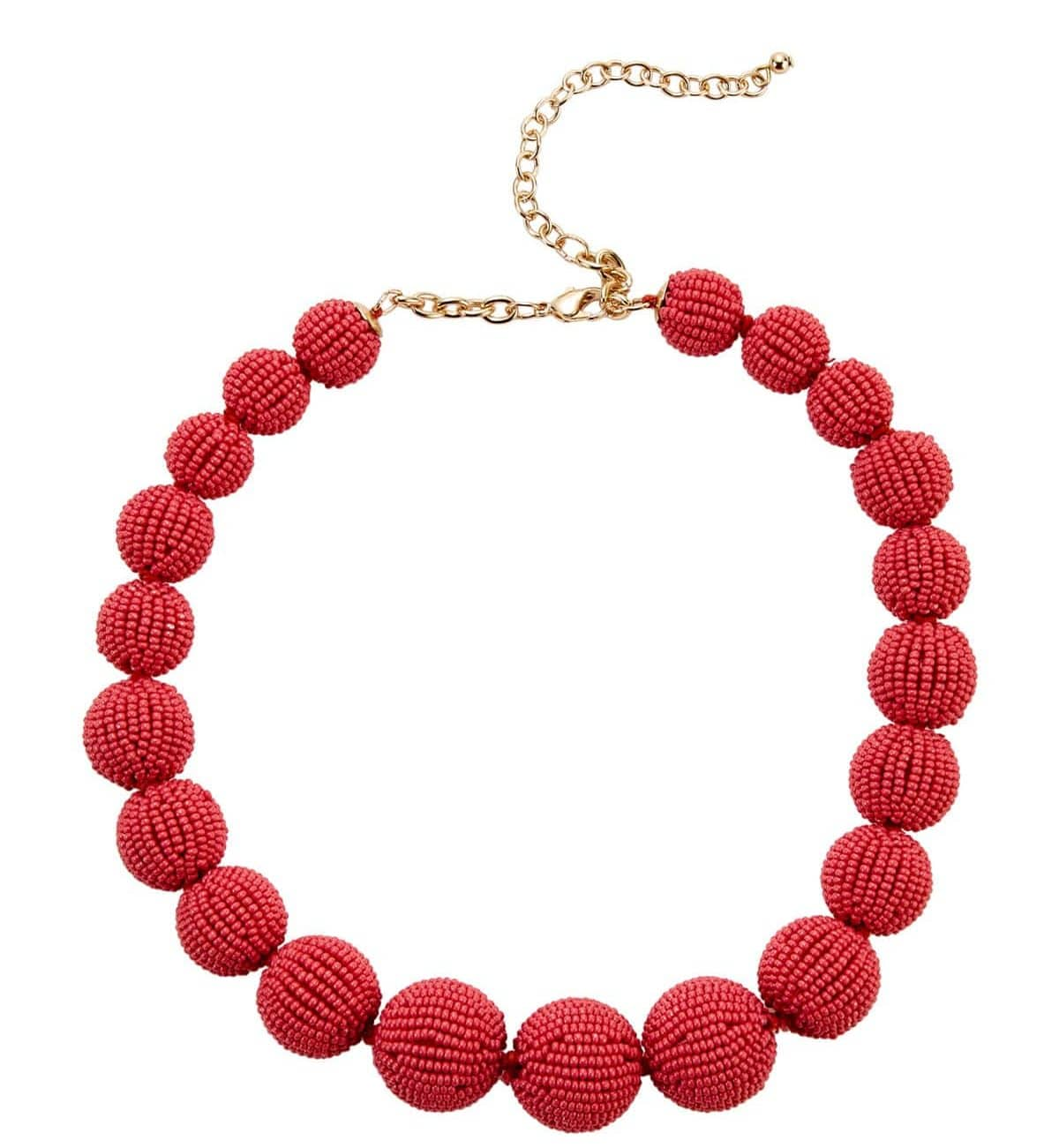 Nancy Pale Red Beaded Necklace