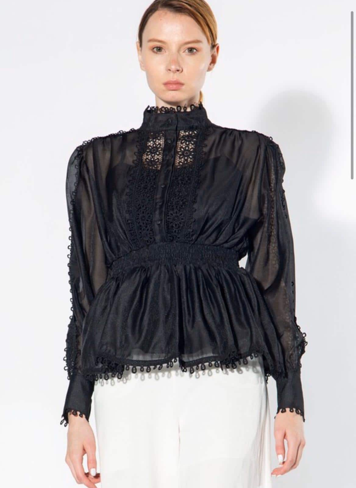 Black alicia-lace-trimmed-top For Fall Winter Spring Summer