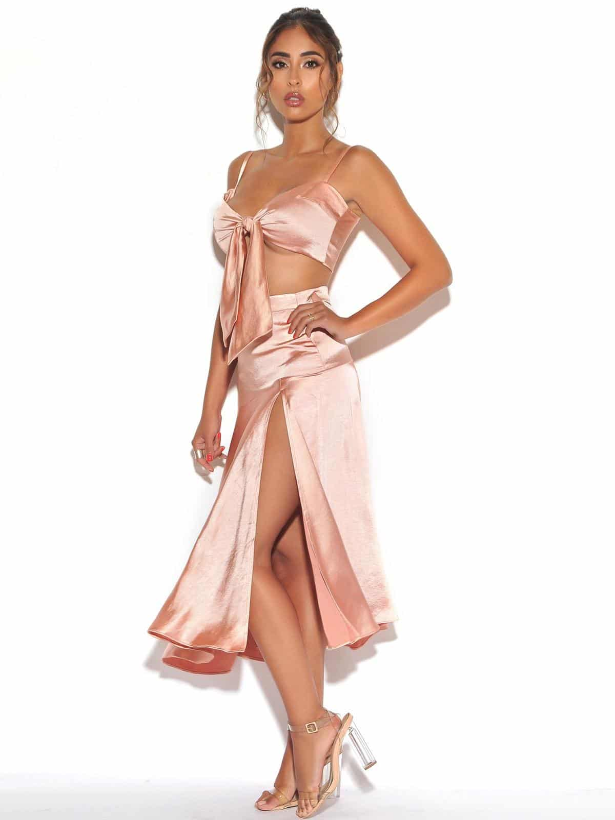 Marilyn Babbar Satin Satin S & Sie Front Satin Top Set