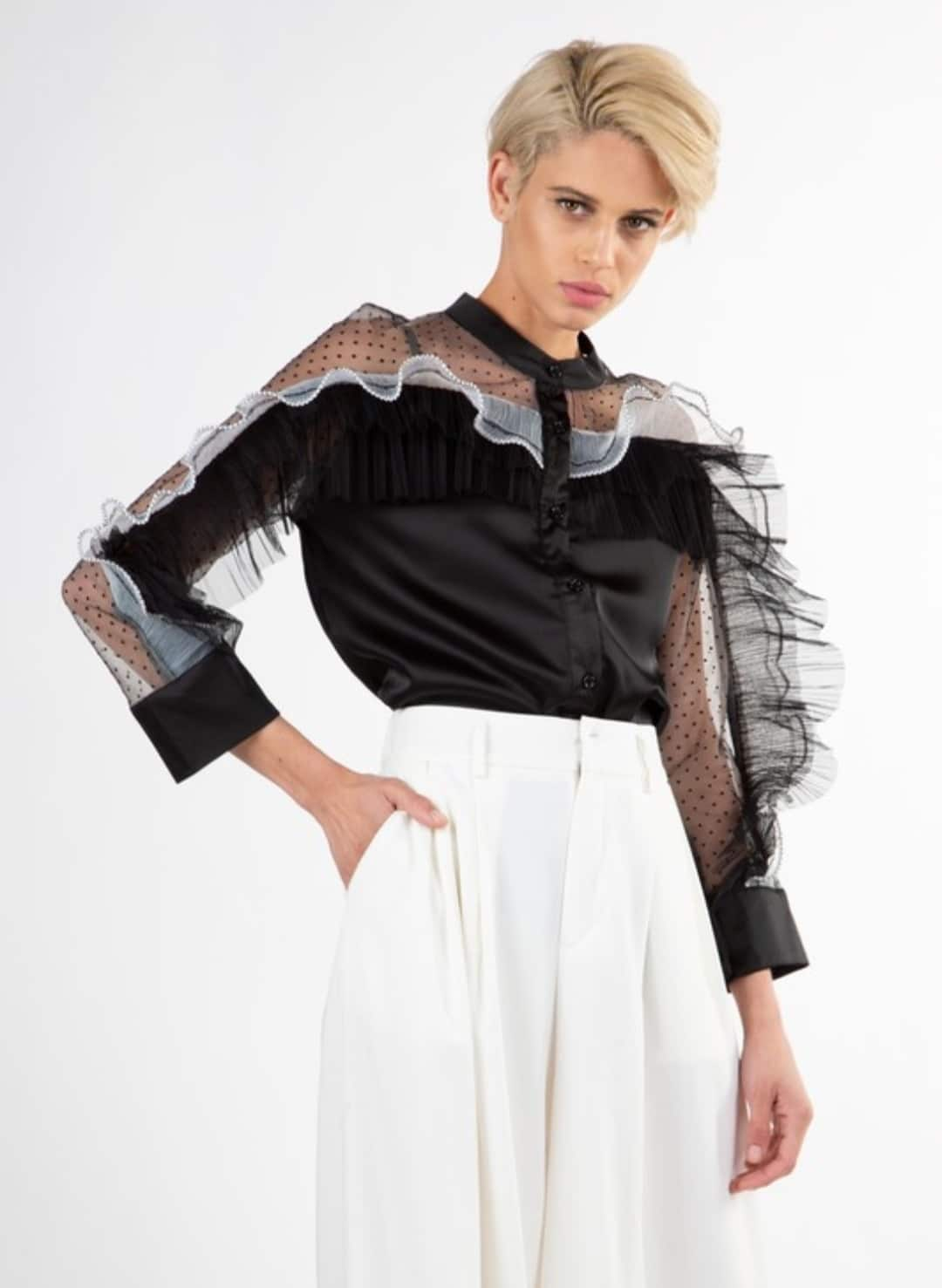 Black lerato-layered-ruffle-top For Fall Winter Spring Summer