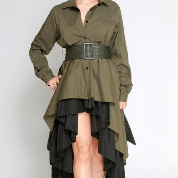 Olive Black Titi Asymmetric Layered Ruffle Midi Dress For Fall Winter Spring Summer