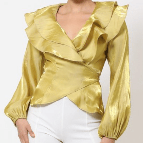 Gold Temi Wrap Style Shiny Ruffle Blouse For Fall Winter Spring Summer