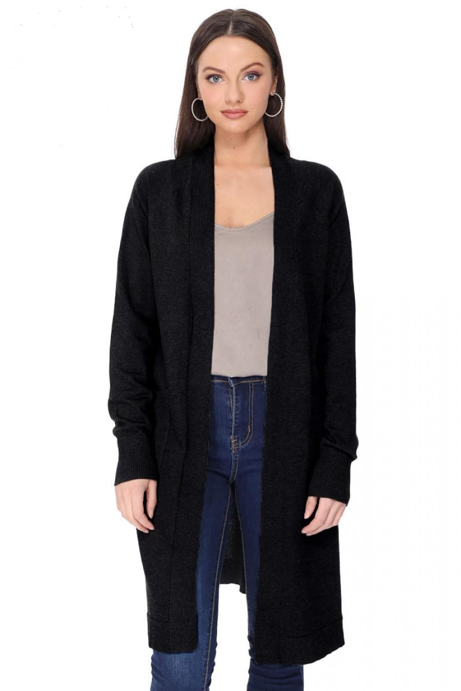 Ella Open Front Cardigan Black For Fall Winter Spring Summer