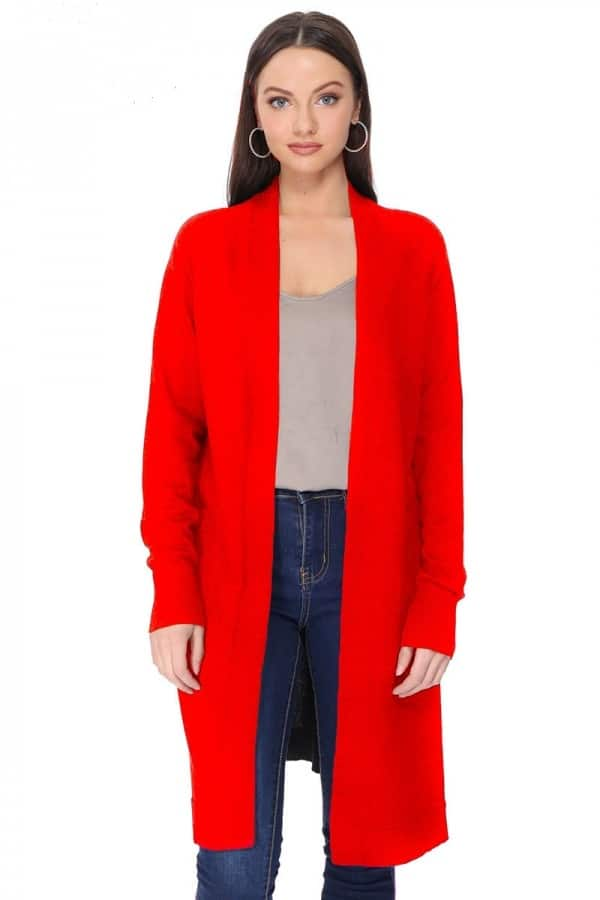 Ella Open Front Sweater Cardigan Red For Fall Winter Spring Summer