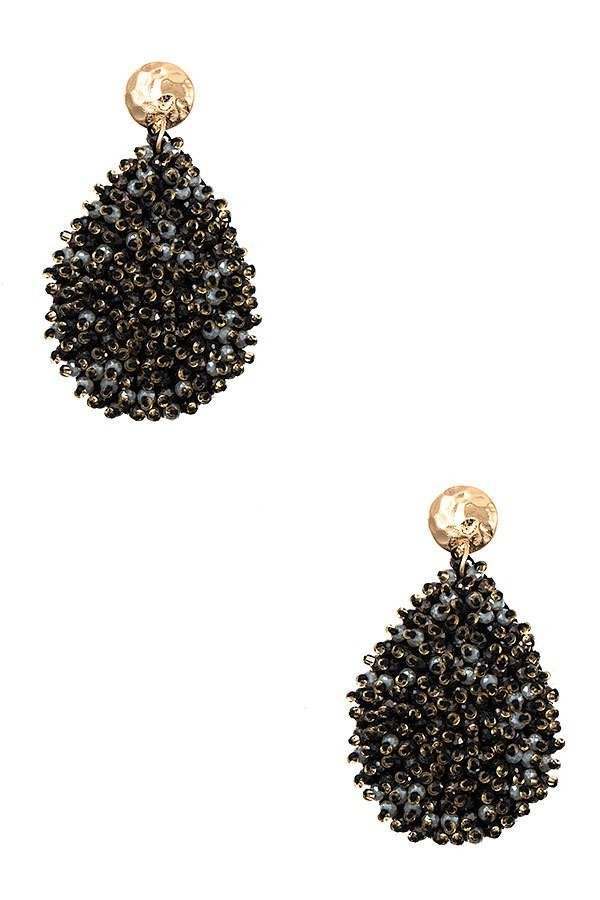 Black Juliet Cluster Beaded Teardrop Earrings