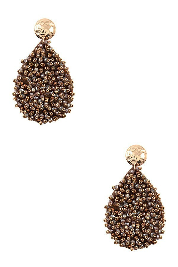 Brown Juliet Cluster Beaded Teardrop Earrings