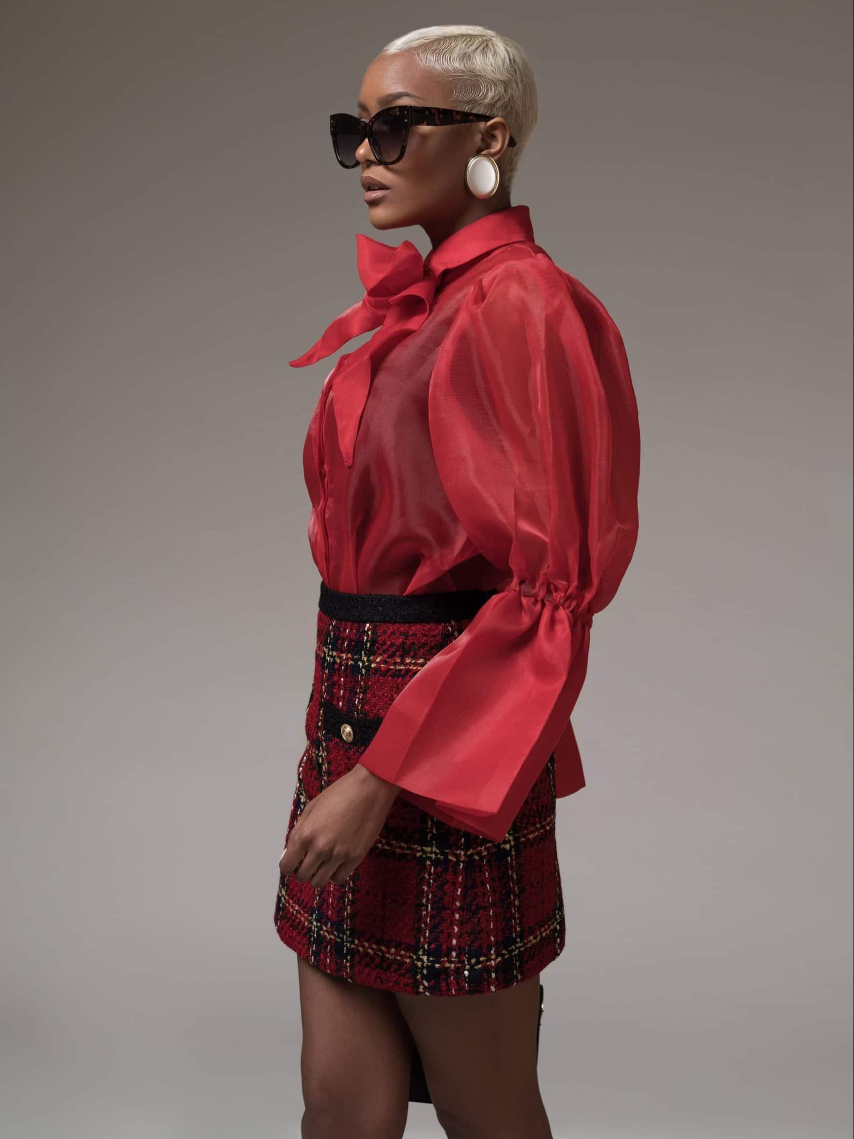 Red Puff Sleeve Sheer Chiffon Shirt