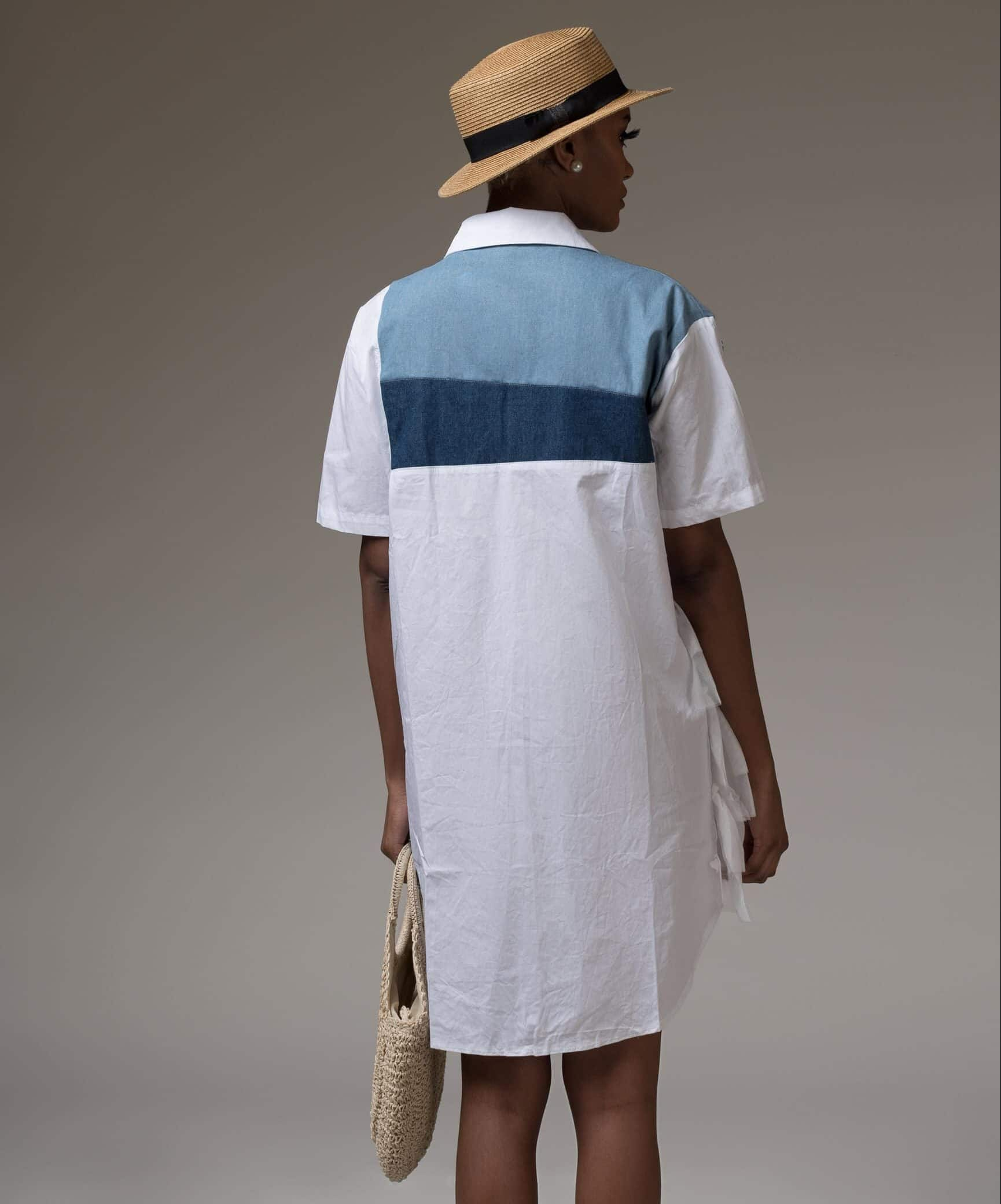 Farewell 2019 Embellished Denim and White Embellished Shirt Dress
