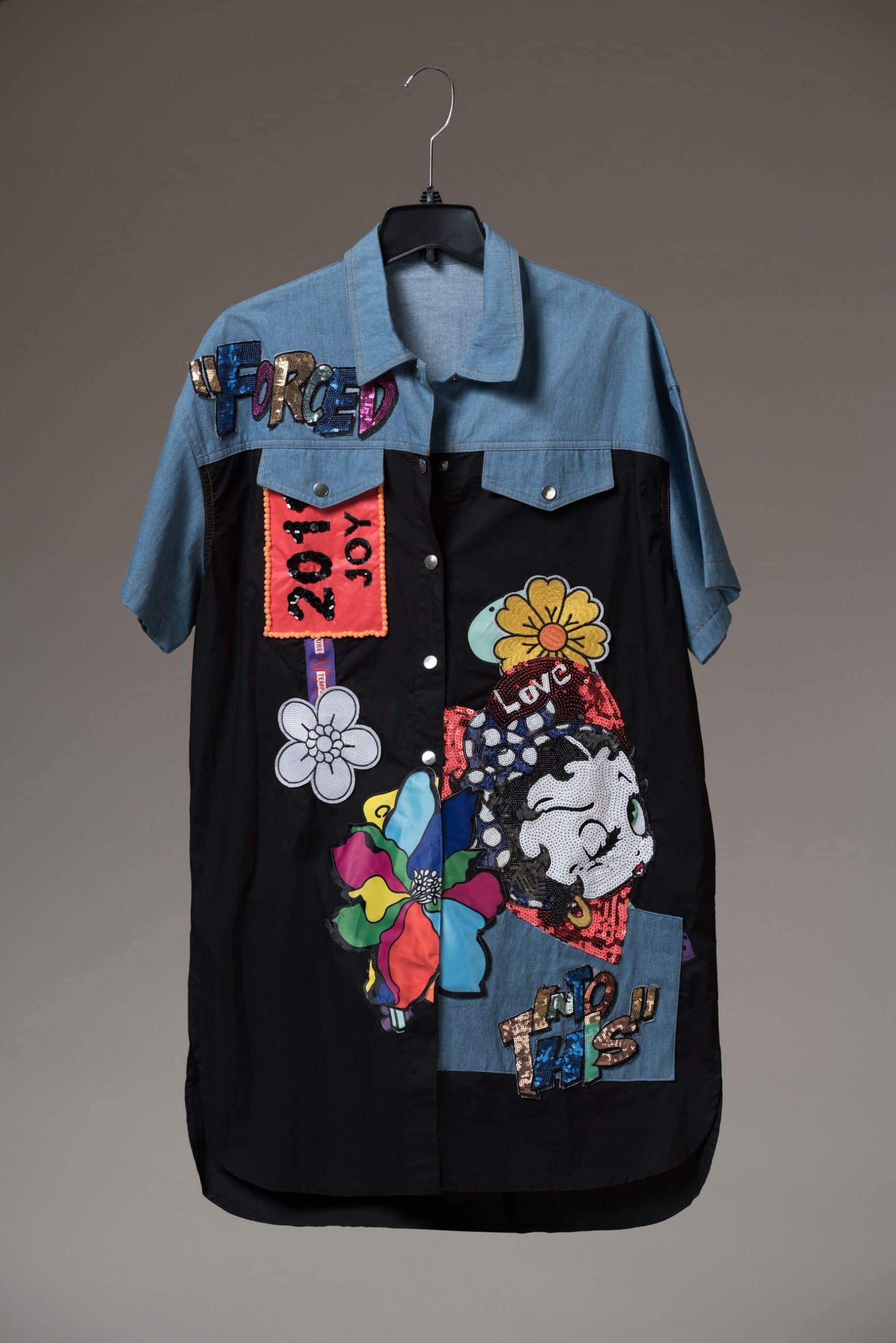 Farewell 2019 Embellished Denim and Black Shirt Dress For Fall Winter Spring Summer