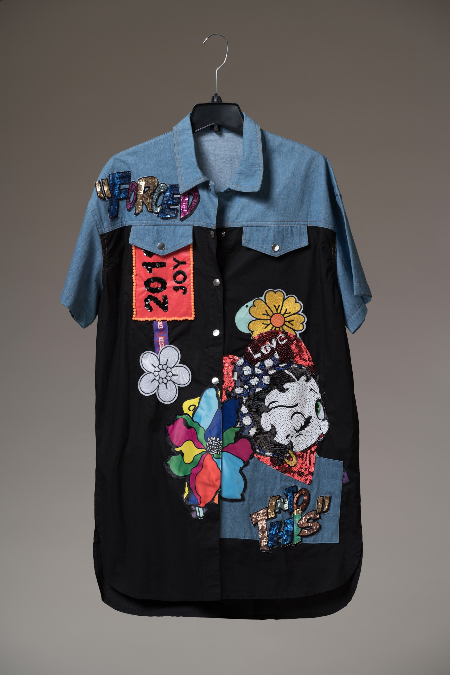 Farewell 2019 Embellished Denim and Black Shirt Dress For Fall Winter Spring Summer