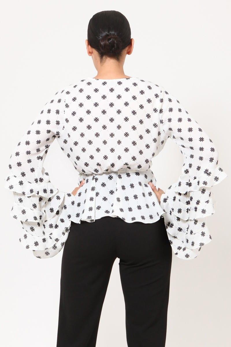 Emem Layered Ruffle Bell Sleeves Print Top